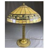 Leaded Glass Lamp, Signed Edward Miller Base