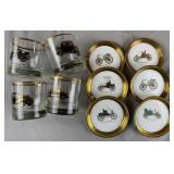 Vintage Old Time Oldsmobile Glasses and Coasters