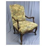 Carved Walnut Country French Arm Chair