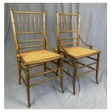 Pair of Bamboo Turned Eastlake Chairs Cane Seats