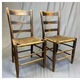 Pair 19th C. Splint Seat Ladder Back Chairs