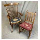 2 Antique Chairs with Needlepoint Seats