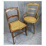 2 Victorian Cane Seat Chairs