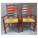 Pair French Style Red Lacquer Armchairs Rush Seats