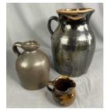 3 Brown Glazed Earthenware Jugs