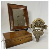 Antique Lap Desk, Mirror, Wall Bracket