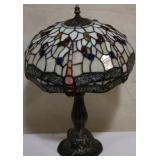 Whtie dragonfly stained glass lamp