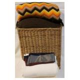 Group of linens with basket