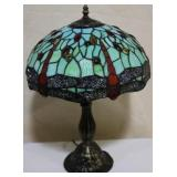 Green stained glass dragonfly lamp