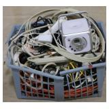 Basket full of electrical cords and wire