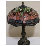 Red Stained glass dragonfly lamp