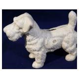 Cast iron whtie scotty dog bank