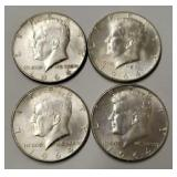 (4) 1964 Kennedy Half Dollars - 90% Silver Content