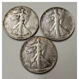 (3) Walking Liberty Half Dollars