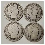 (4) U.S Barber Half Dollars