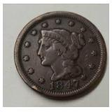 1847 U.S. Large One Cent Coin
