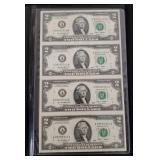 Uncut Sheet of $2.00 Bills