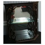 Fancy Wood Filigree Mirrored Display Shelf