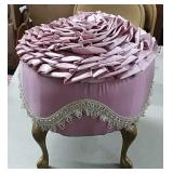 Pink Ribbon Top Ruffled Footstool
