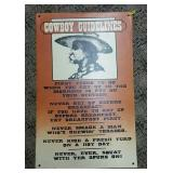 Cowboy Guidelines Tin Sign