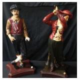 2 - Wooden Golfer Statues