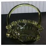 Fenton Thumbprint Green Basket