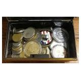 Metal Box Full of Coins, Tokens, Patch