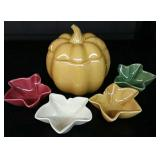 Lidded Pumpkin Dish & 4 Leaf Dishes