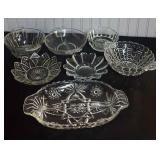 7 pcs. Vintage Pressed Glass