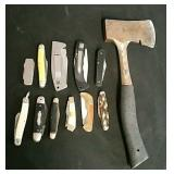 11 Pocket Knives & a Hatchet