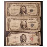 (2) U.S. $2 Red Seal & (1) $1 Silver Certificate