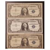 (3) U.S Star Note $1 Silver Certificates
