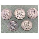 (5) Franklin Half Dollars