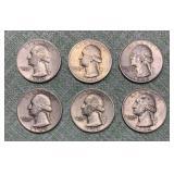 (6) Washington 90% Silver Quarters
