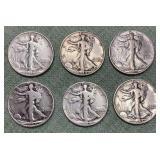 (6) Walking Liberty Half Dollars