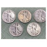 (5) Walking Liberty Half Dollars