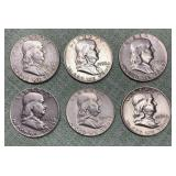 (6) Franklin Half Dollars