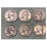 (6) Washington Quarters 90% Silver