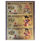 (3) Novelty Gold Plated Dragonball Banknotes