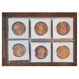 (6) One Ounce Copper Rounds