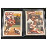 (2) 1987 Joe Montana and Jerry Rice Cards