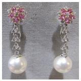 18k WG pearl & diamonds