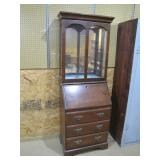 mahogany slant front desk w/glass front china top