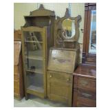 oak sectretary desk with china cabinet side>
