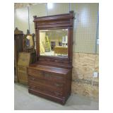 Victorian walnut swing mirror dresser>