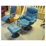 two piece leather chair footstool set