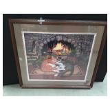 Cats Snuggle Fireplace in Wooden Frame