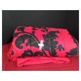 3-Pc Red & Black Floral Queen Comforter Set