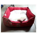 """Blueberry 34""""X34""""12"""" Tango Red Embroidered Pet Bed"""