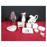 Lot of Porcelain Trinket Boxes and More